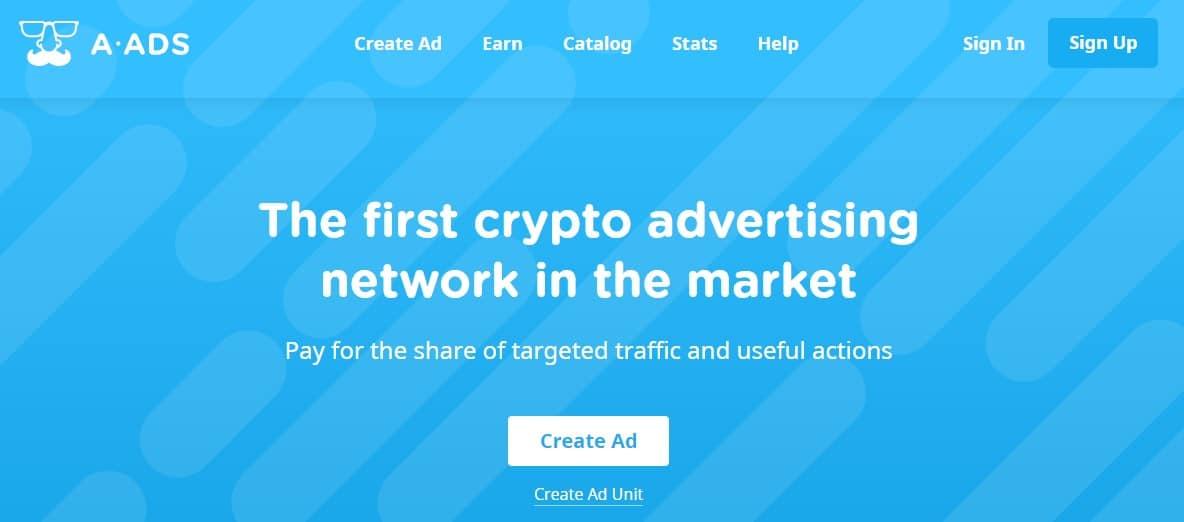 Anonymous Ads (A-Ads) régie bitcoin publicité crypto