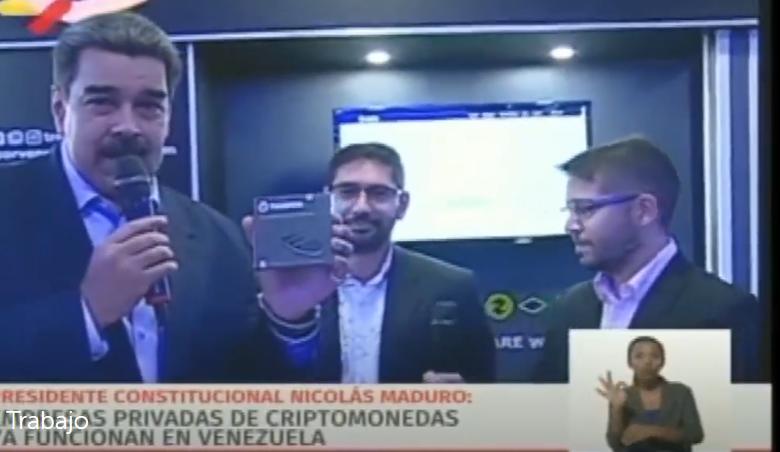 Le Président du Vénézuela, Nicola Maduro, fait la publicité du portefeuille crypto Trezor à la télévision