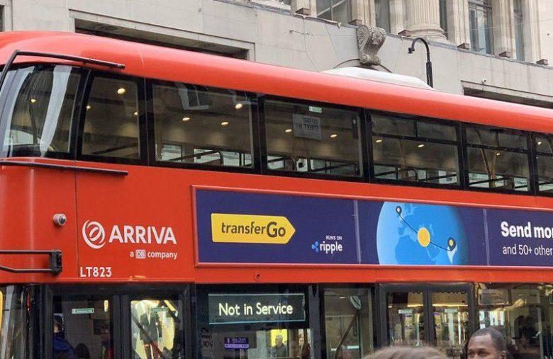 Le logo Ripple présent sur les publicités pour Transfergo en Angleterre