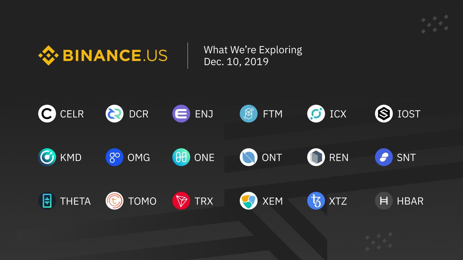 Binance US envisage de lister de nouvelles cryptomonnaies dont Tezos (XTZ), Ontology (ONT), TRON (TRX) ou Enjin (ENJ)