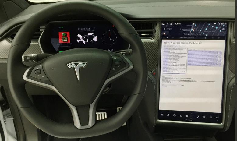 Un noeud Bitcoin BTC complet installé dans une voiture électrique Tesla