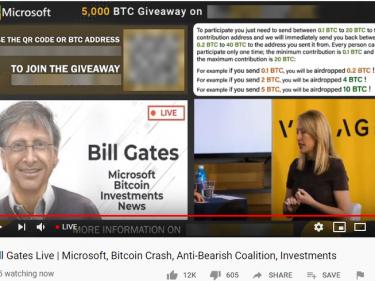 Arnaque Bitcoin sur Youtube, les cybercriminels se font passer pour Bill Gates