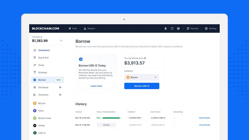 Le crypto wallet Blockchain.com lance un service de prêt appelé Borrow