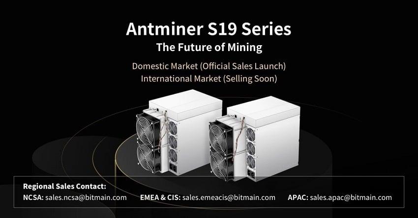 Minage Bitcoin: Bitmain a lancé avec succès la vente de ses nouveaux Antminers S19