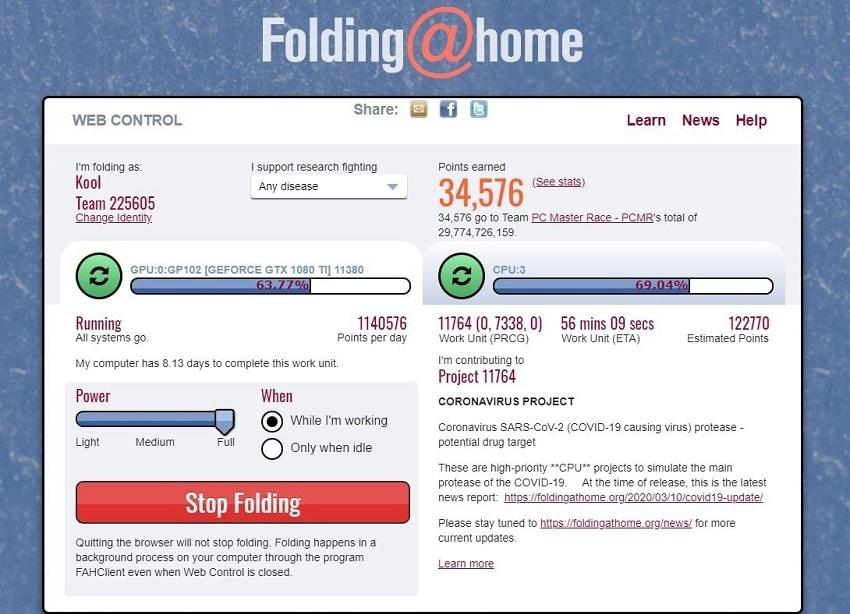 logiciel folding@home partage cpu gpu