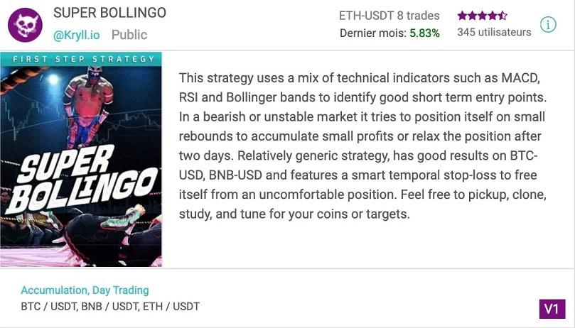 Stratégie de trading crypto gratuite Super Bollingo