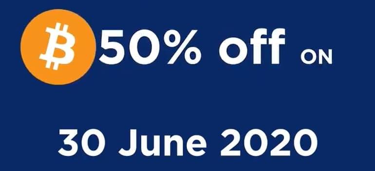 Du Bitcoin BTC à vendre avec 50% de réduction le 30 juin 2020