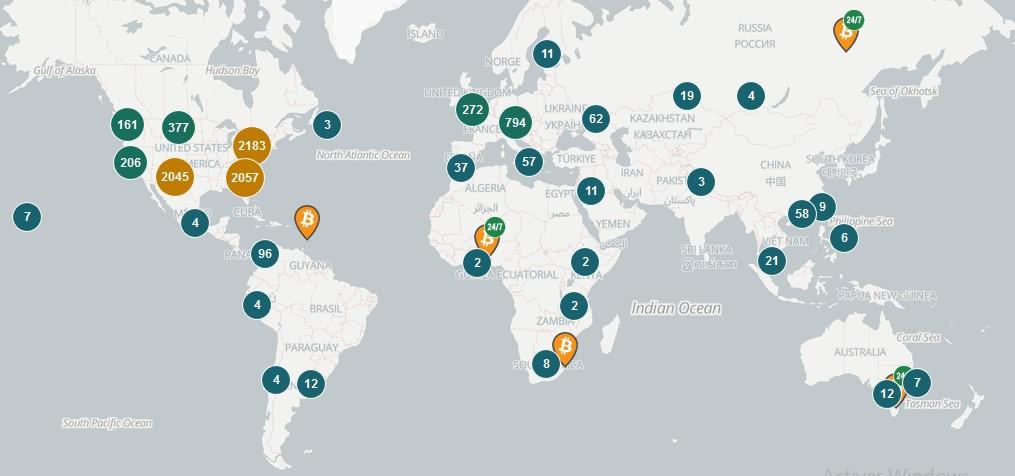 Le nombre de distributeurs automatiques de Bitcoin dépasse les 8000 dans le monde