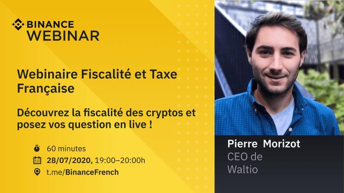 Binance organise un webinar fiscalité bitcoin française et impôts cryptomonnaies en 2020