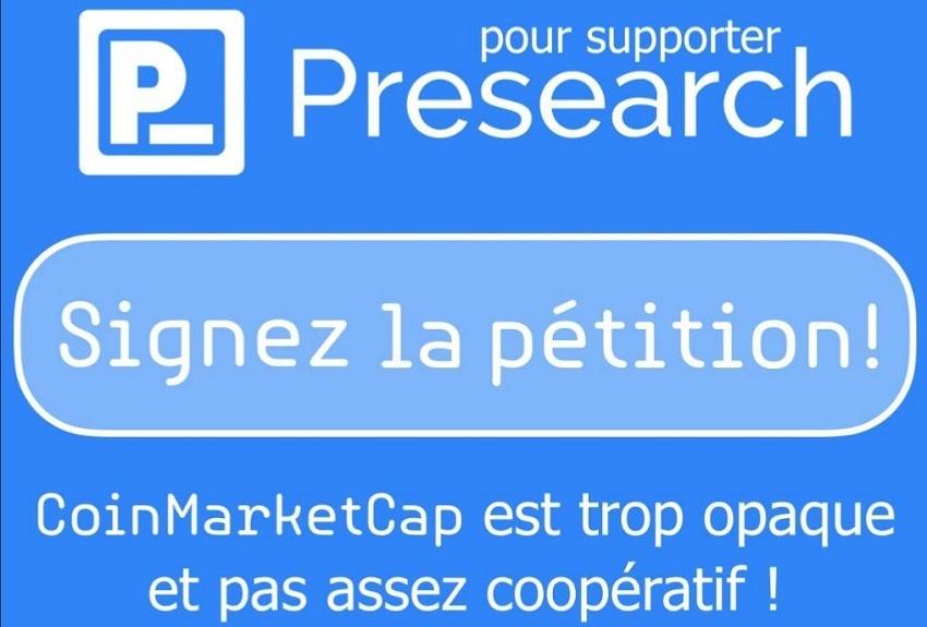 Presearch lance une pétition pour que CoinMarketCap mette à jour le nombre de tokens PRE en circulation