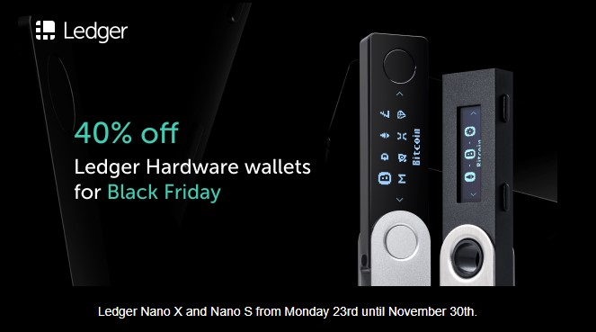 Promotion Black Friday: 40% de réduction sur les crypto wallets Ledger