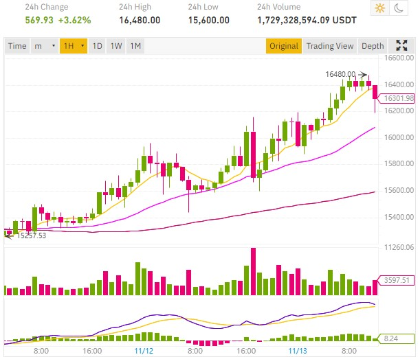 cours bitcoin 16 000 dollars