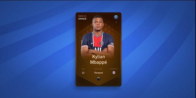 La carte NFT unique de Kylian Mbappé a été vendue pour plus de 65 000 dollars sur Sorare