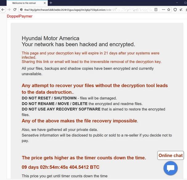 ransomware doppelpaymer kia motors
