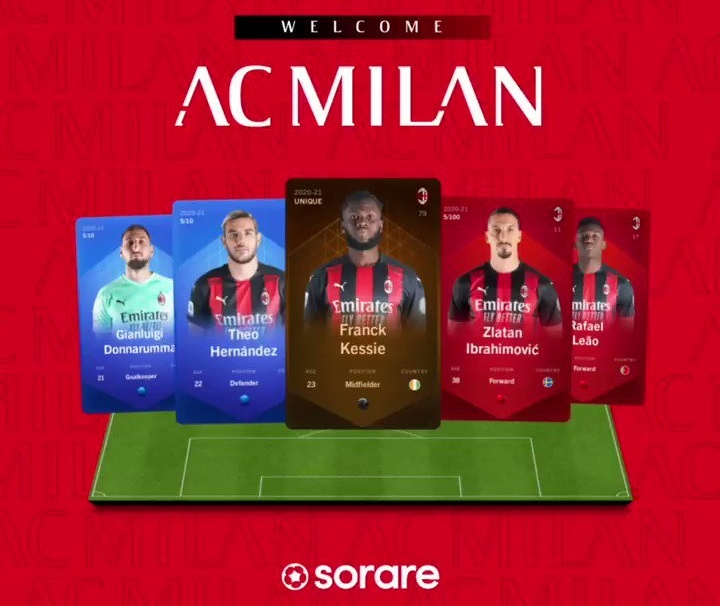 Le club de football AC Milan arrive sur la plateforme de jeu blockchain Sorare