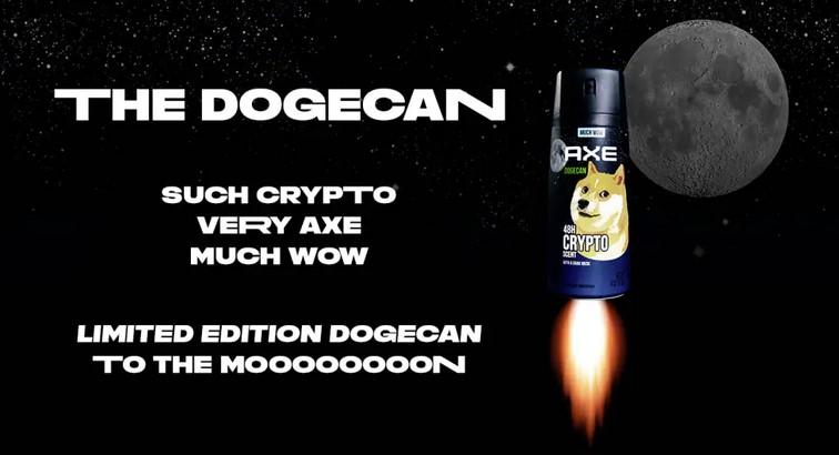 Comme promis, la marque Axe a lancé le Dogecan, un déodorant dédié au Dogecoin