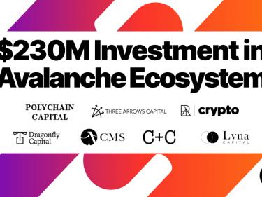 Le projet blockchain Avalanche (AVAX) annonce une levée de fonds de 230 millions de dollars