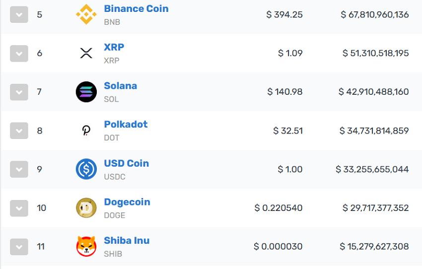 Shiba Inu (SHIB) se trouve actuellement en 11e place du classement CoinMarketCap